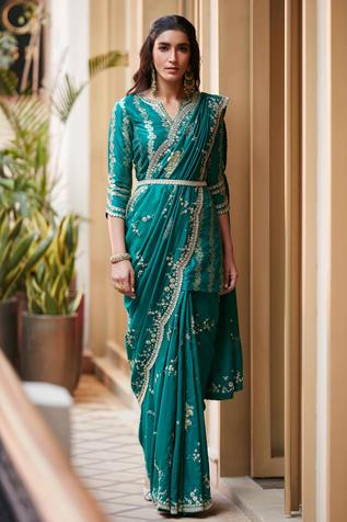 Silk Embroidered Saree with Blouse