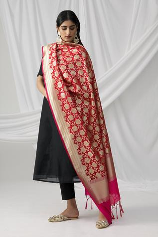 Banarasi Floral Woven Dupatta