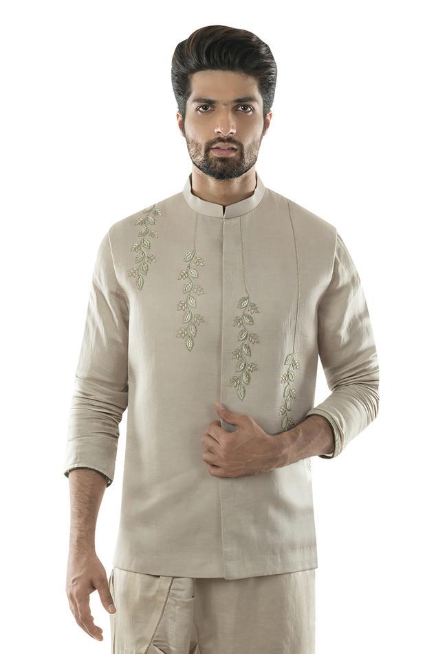 Embroidered Linen Satin Bundi