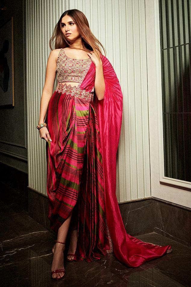Satin Silk Pre-Draped Saree with Blouse