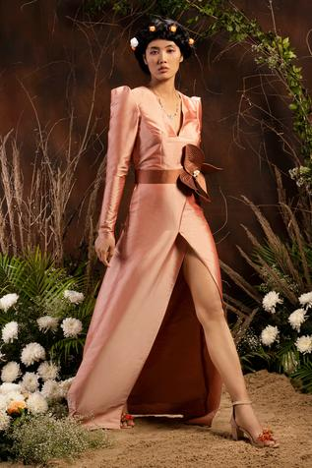 Taffeta Front-Slit Gown