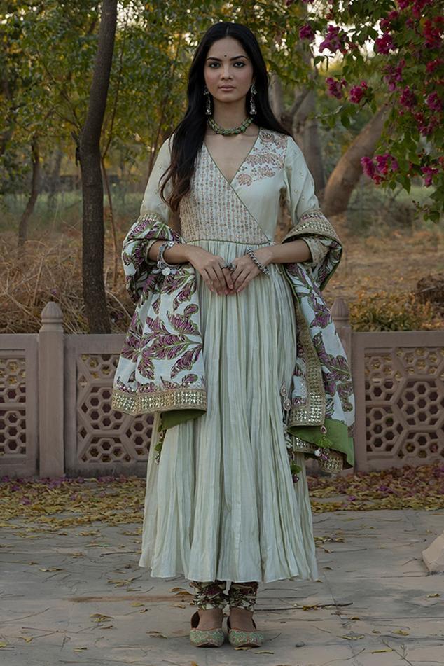 Silk Chanderi Angarkha Set