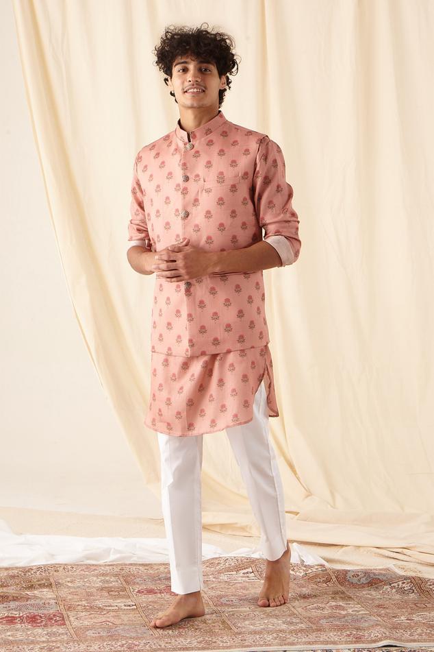 Printed Silk Bundi & Kurta Set