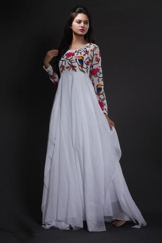 Embroidered A-Line Maxi Dress