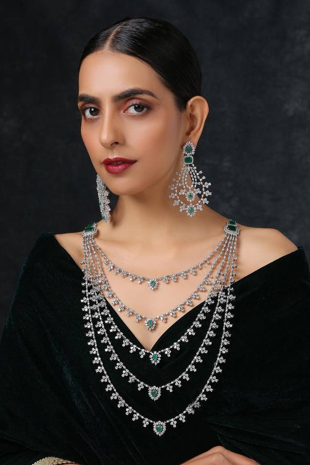 Diamond Layered Necklace Set