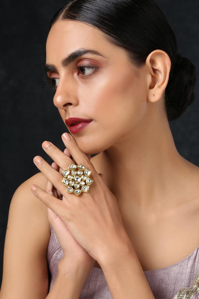 Floral Kundan Ring