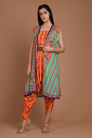 Embroidered Cape & Dhoti Pant Set