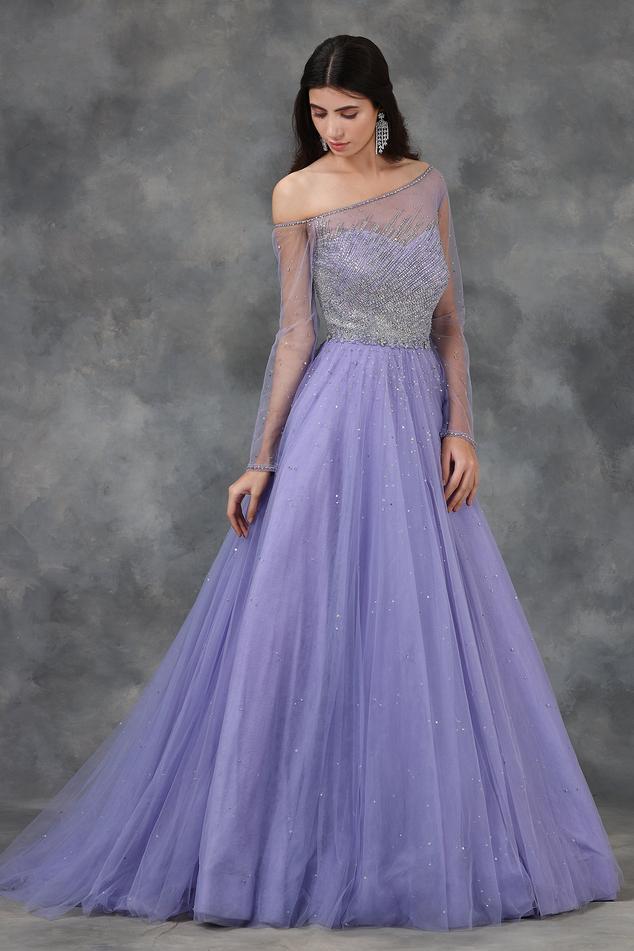 Embellished Flared One Shoulder Gown