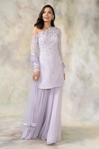 Embellished One Shoulder Kurta Set
