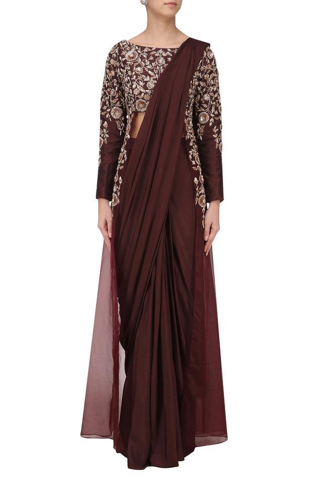Silk Pre-Draped Saree with Blouse