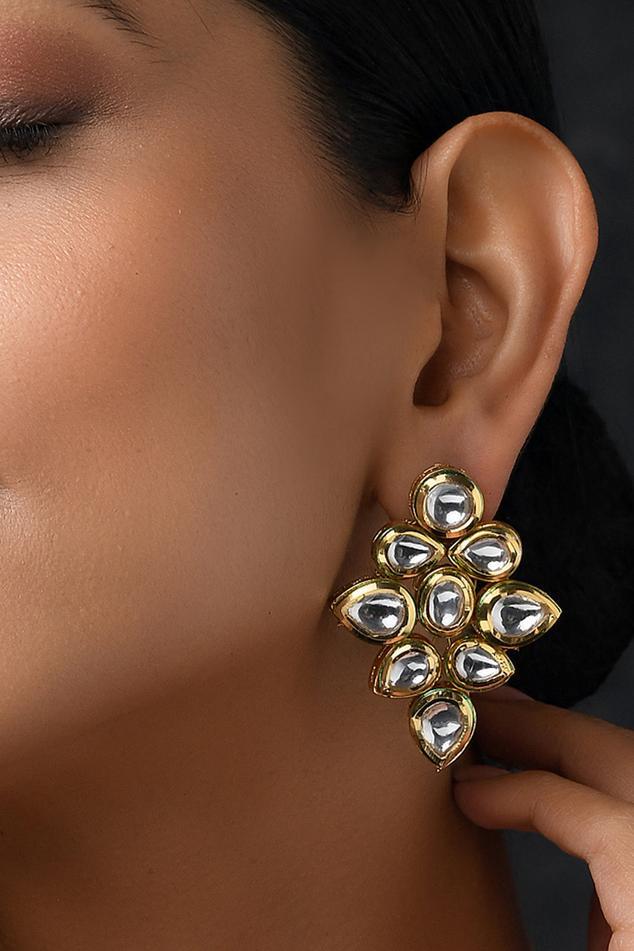 Floral Kundan Stud Earrings