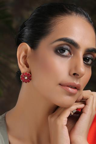 Handcrafted Floral Kundan Studs