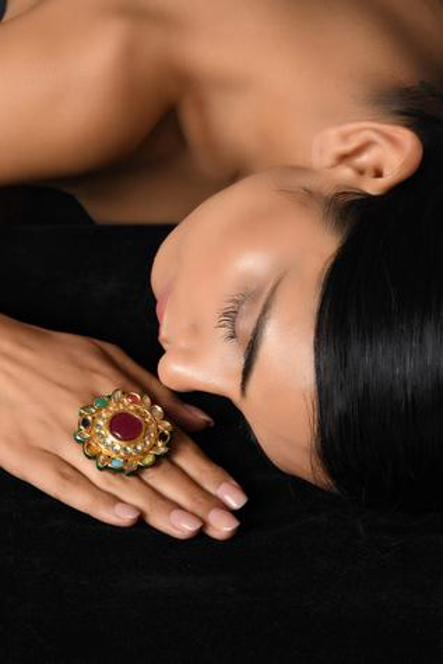 Handcrafted Polki Kundan Floral Ring