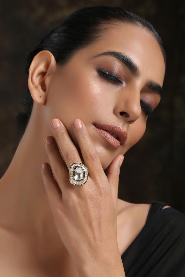 Handcrafted Polki Kundan Ring