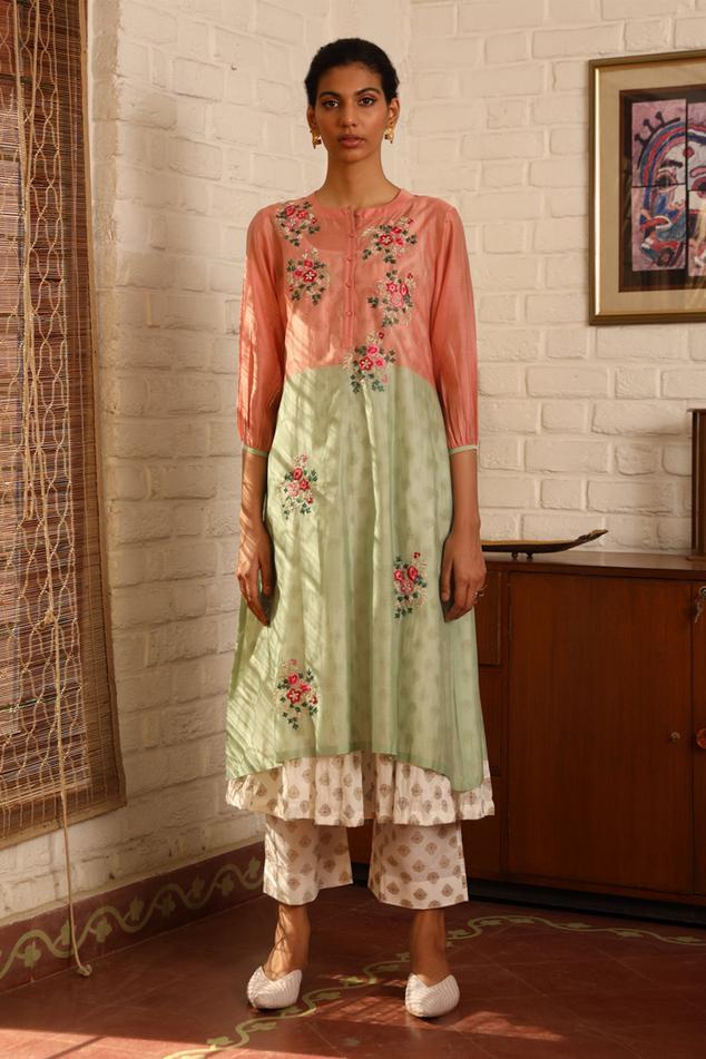 Silk Maheshwari Flared Kurta Set
