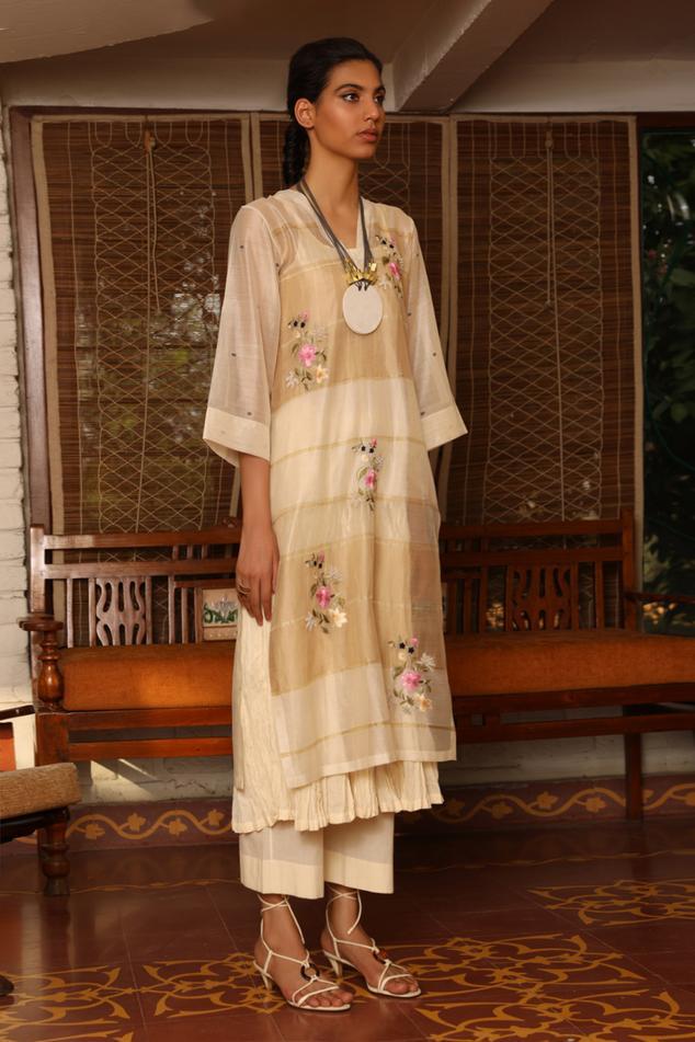 Silk Maheshwari Kurta Set