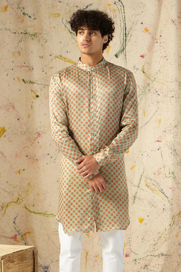 Printed Cotton Silk Kurta & Pant Set