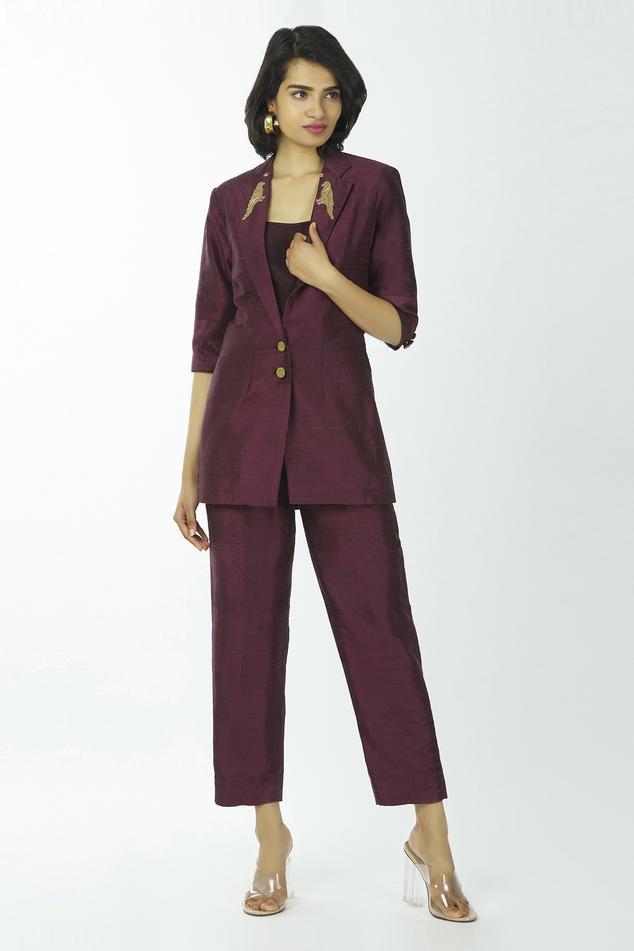 Embroidered Blazer & Pant Set