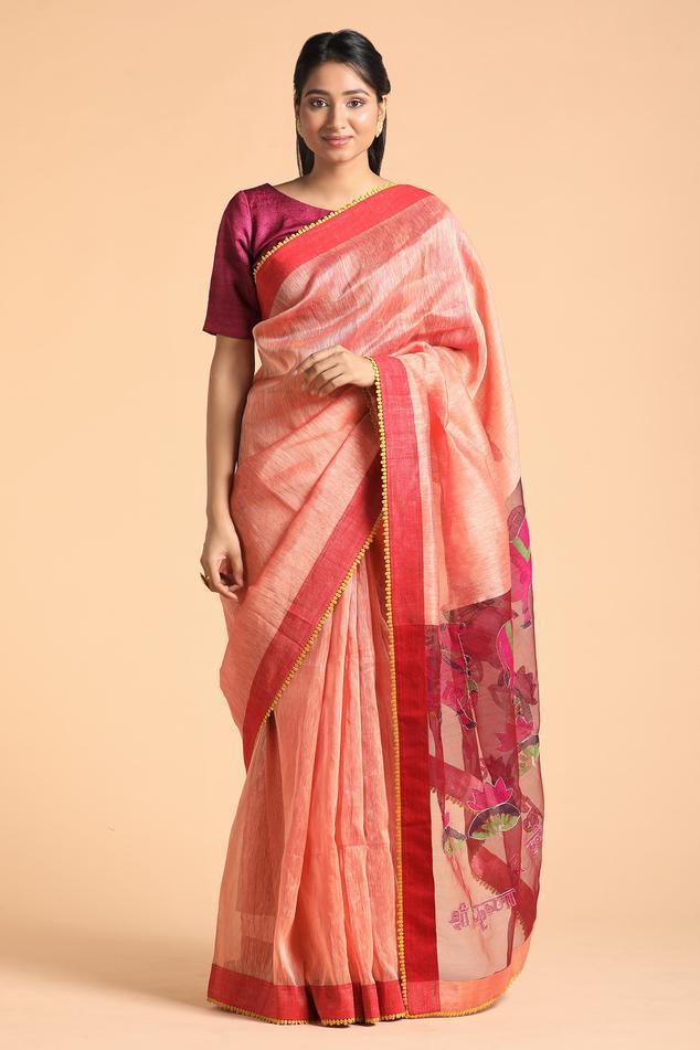 Jamdaani Pichwai Saree with Unstitched Blouse Fabric