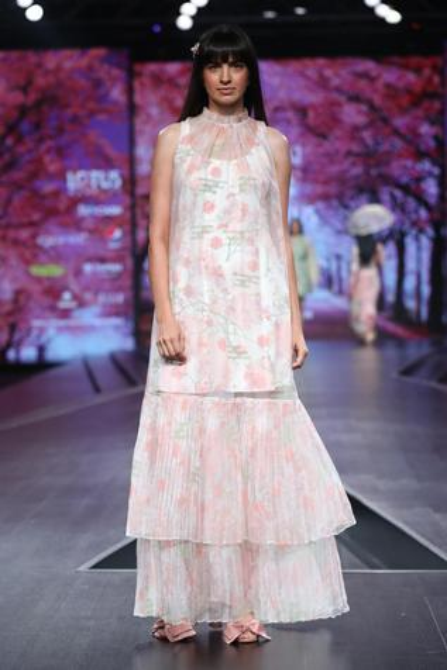 Printed Organza Maxi Dress