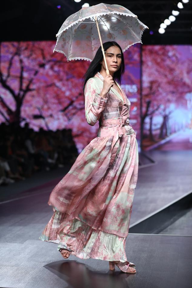 Printed Silk Dress with Skirt