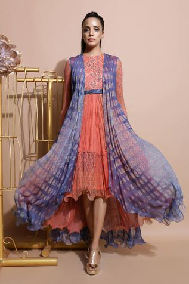 Printed Midi Dress with Cape