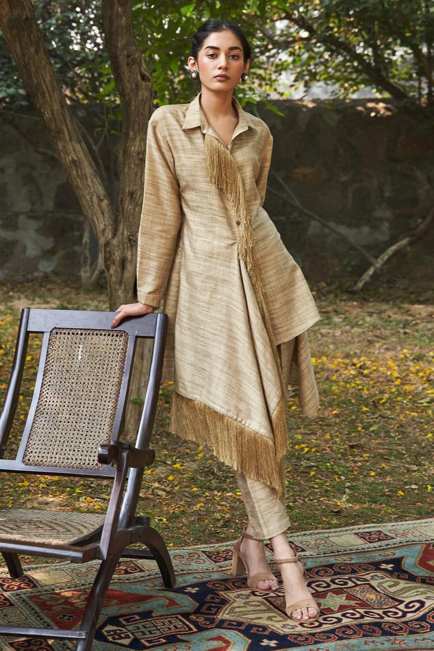 Handloom Cotton Silk Kurta & Pant Set