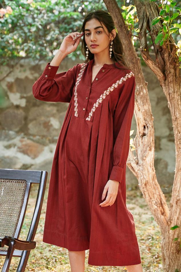 Handloom Denim Embroidered Dress