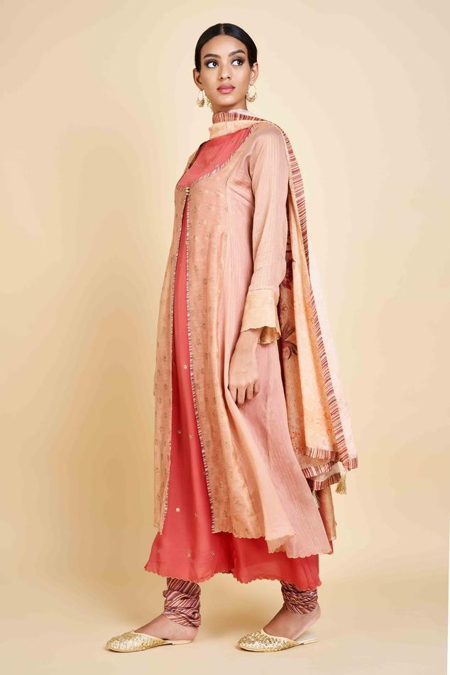 Linen Silk Jacket Kurta Set
