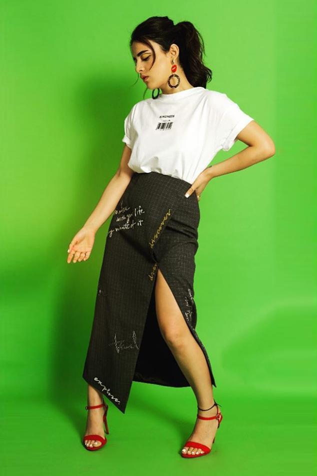 Embroidered Checkered Skirt