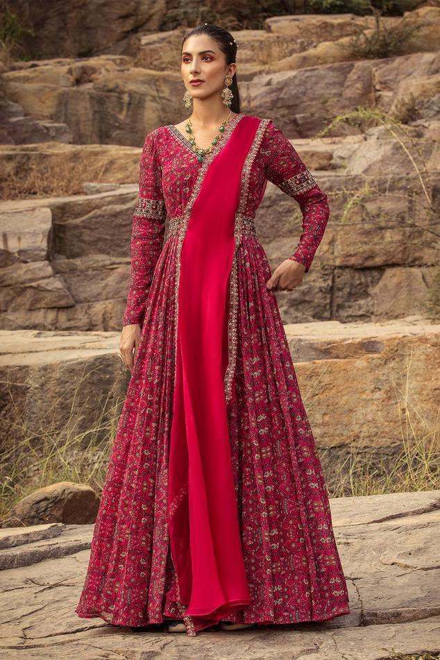 Printed Anarkali with Embellished Dupatta