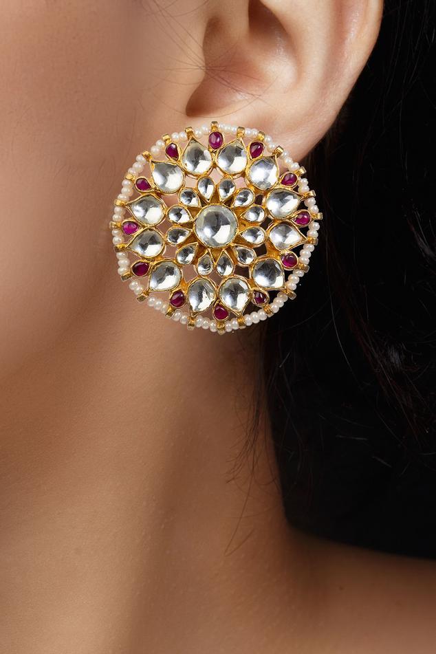 Floral Stone Stud Earrings