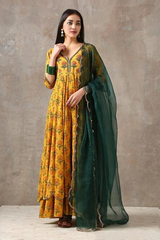 Printed Anarkali with Dupatta