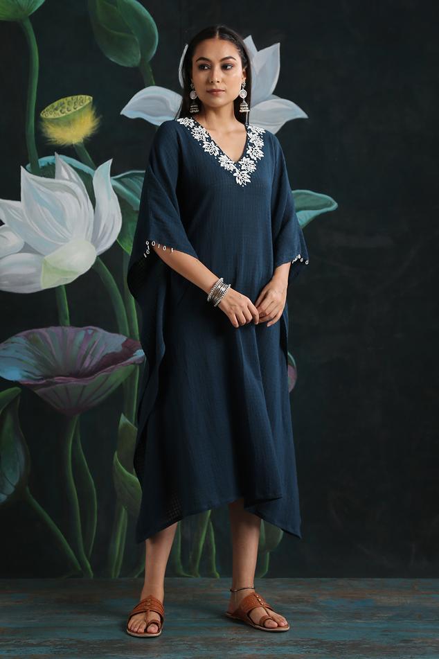 Embroidered Cotton Kaftan Tunic