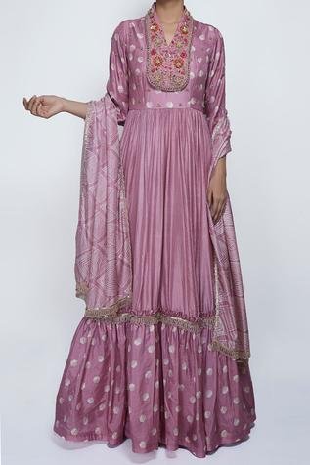Embroidered Silk Anarkali with Dupatta