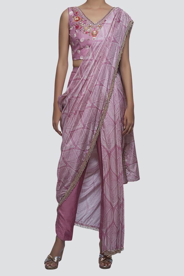 Silk Pant Saree with Blouse