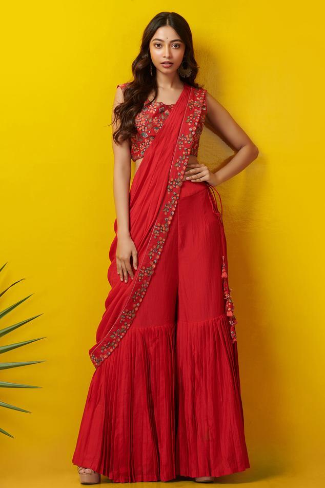 Pleated Sharara Pant Saree Set