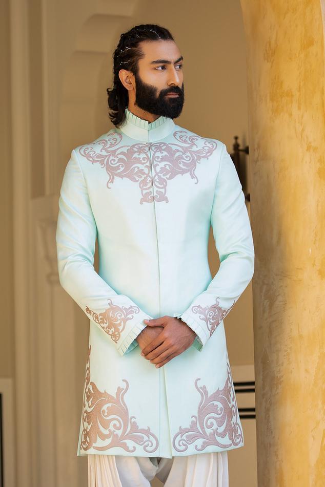 Linen Silk Printed Sherwani