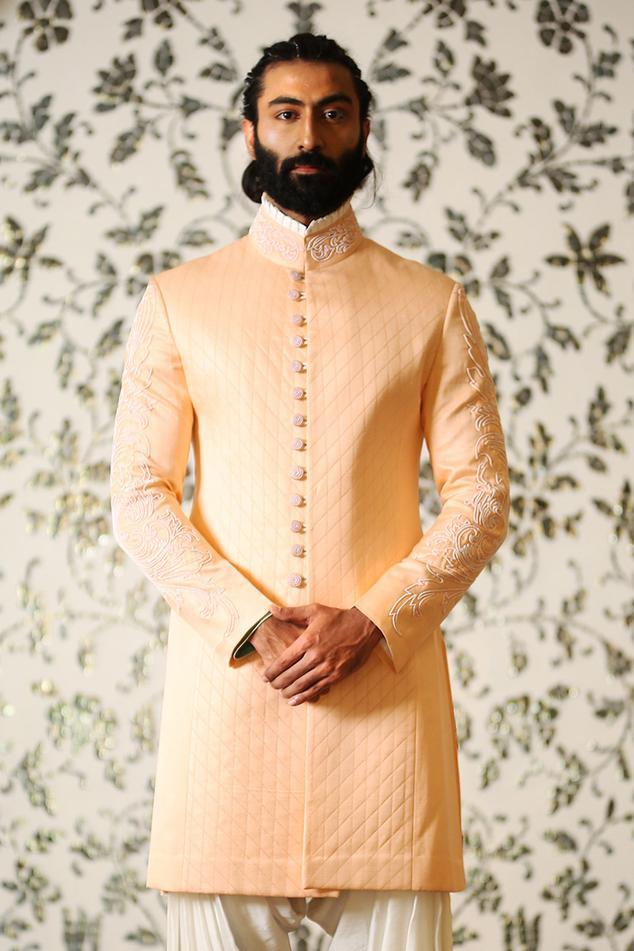 Linen Silk Quilted Sherwani