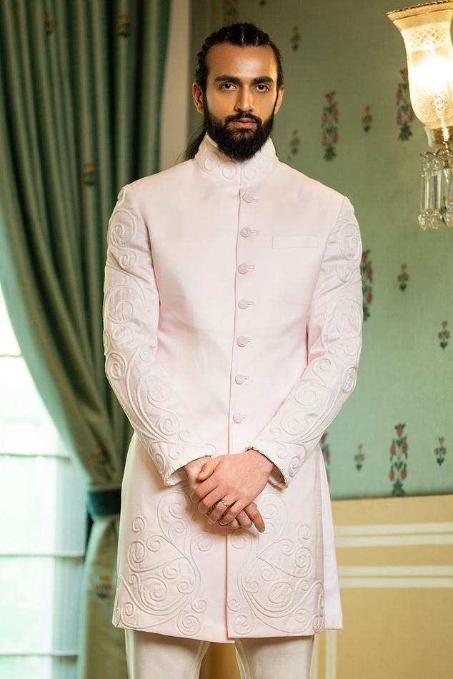 Linen Silk Embroidered Sherwani