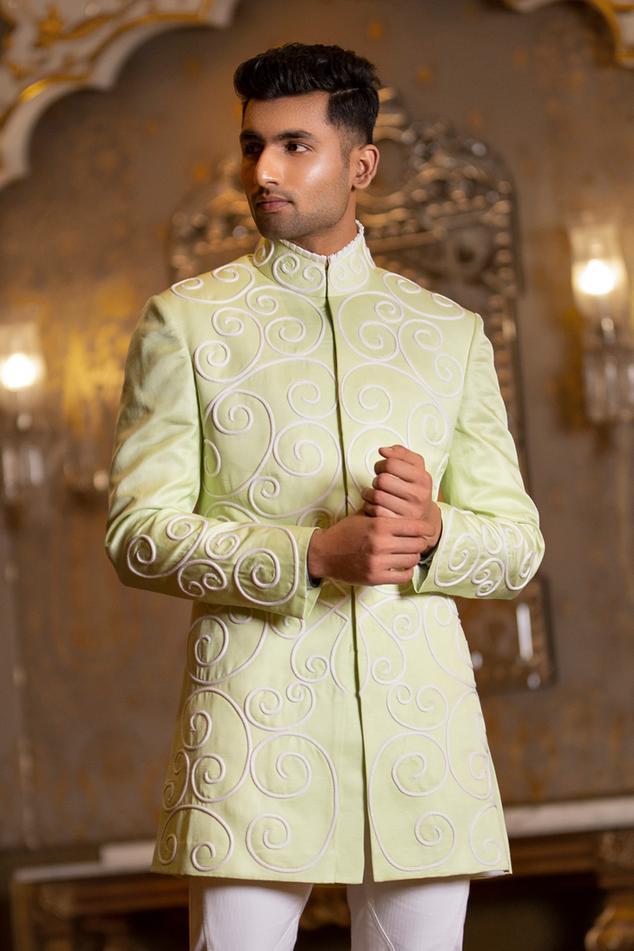 Linen Silk Embroidered Bandhgala