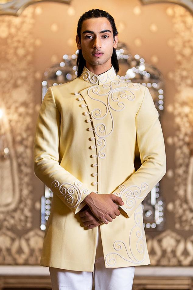 Linen Silk Overlap Bandhgala