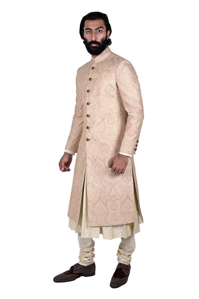 Silk Brocade Sherwani Set