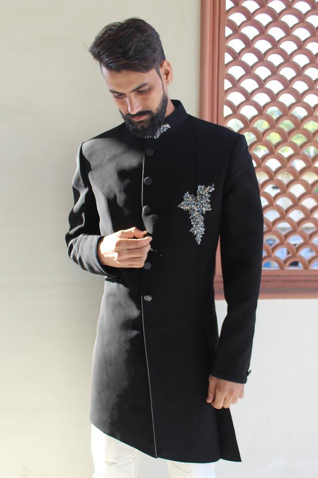 Asymmetric Embroidered Sherwani Set