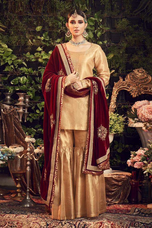 Silk Tissue Kurta Set with Rosewood Maroon Dupatta