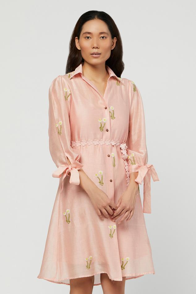 Silk Chanderi Shirt Dress