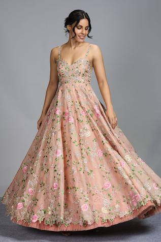Organza Floral Embroidered Gown
