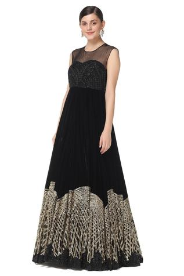 Velvet Embroidered Gown
