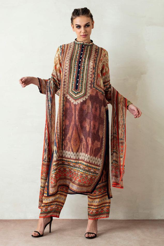 Ramin Silk Printed Tunic Set