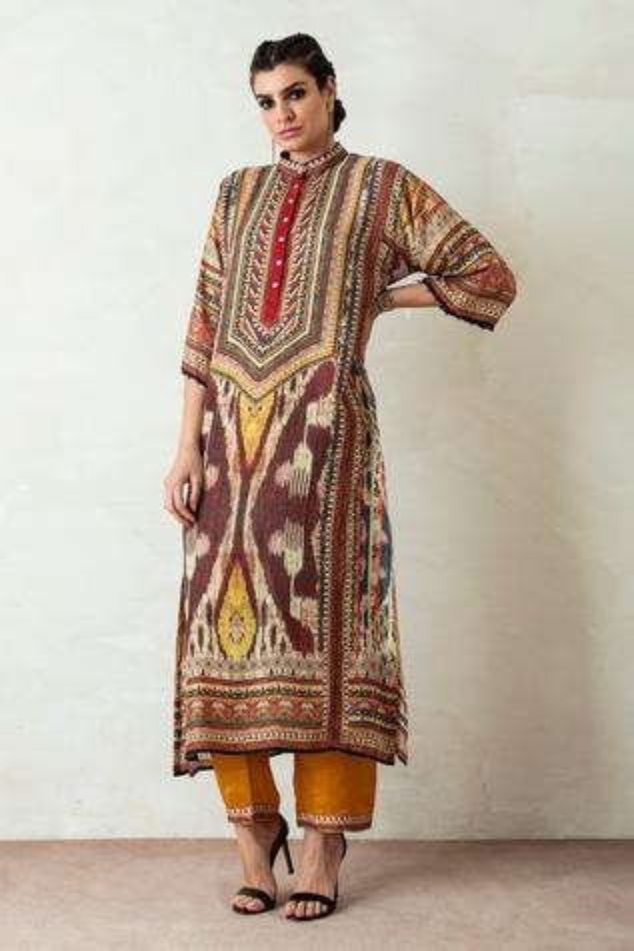 Ghazala Silk Tunic & Pant Set